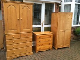 Solid pine wardrobe set vgc , free delivery locally