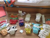 Bundle of washable / reusable nappies. Tots bots, mother ease, boosters and wraps