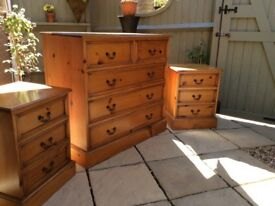 Beautiful Solid Pine Chest of Drawers and Bedside Chests
