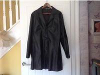 Leather coat.