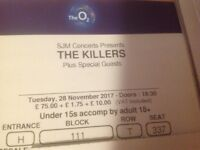 2 x tickets for The Killers at the O2 arena on 28th Nov.