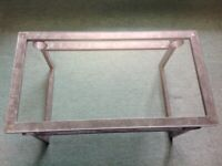 Coffee Table. Glass topped with metal frame.