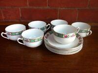 Vintage J&G Meakin Tea Set 6 Cups Saucers Henley England Garden Party