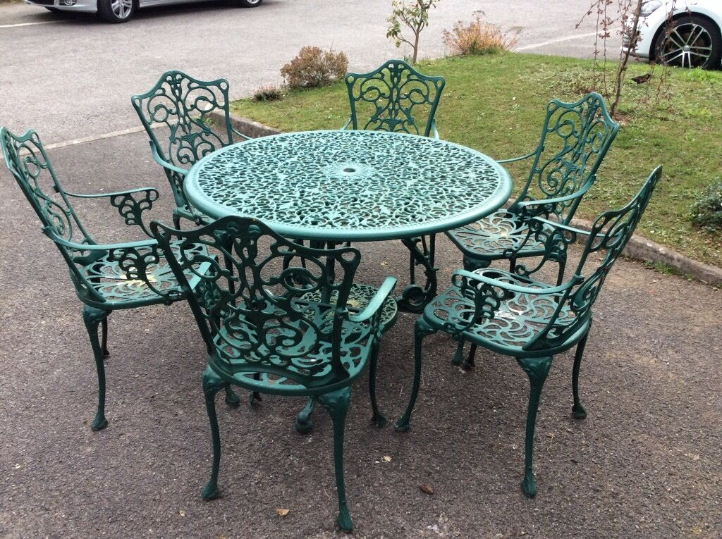 victorian style aluminium garden table and 6 chairs bottle green