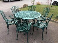 Victorian style aluminium garden table and 6 chairs - bottle green