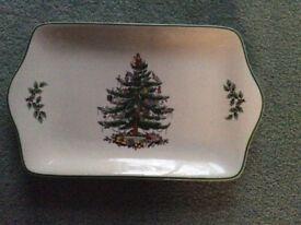 Spode Christmas Tree Design Tray Shaped Plate