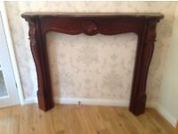 """Mahogany fire surround 48"""" wide 5"""" deep 41"""" high in good condition £25"""