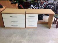 Bedroom drawer unit and desk/dressing table set.