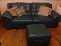 DFS deep green LEATHER 3 seater WILSON sofa & storage footstool