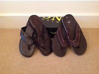 2x Brand New Men's Real Leather Flip flops UK10