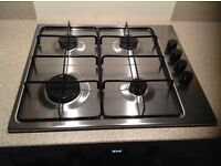 Gas Hob, Electrolux stainless steel, as new with connection pipe.