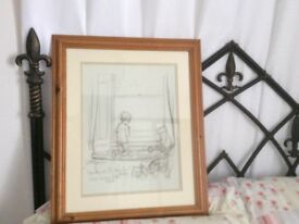 WINNIE THE POOH TWO PINE FRAMED PENCIL SKETCHES