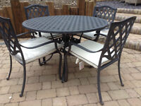 HARTMAN aluminium Garden Table + 4 Patio Chairs + New Cushions