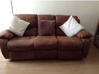 Reclining settee for sale, light brown