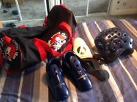 Childs Tae Kwon Do Sparring Gear Set and bag (minus gloves)