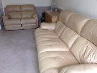 Cream leather 3 and 2 recliner suites