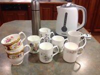 China mugs, kettle and flask.