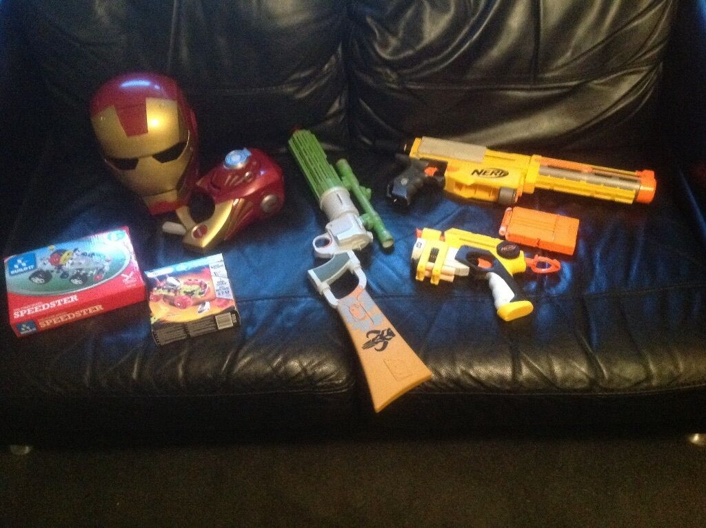 Boys Toys - 2 Nerf Guns, Star Wars Boba Fett Blaster, Iron Man Mask