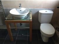 Toilet, basin and stand