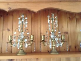 Pair brass candelabra with small lustres