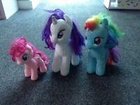 Three soft my little pony toy teddies