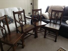 Four Dark Oak Chairs from 1930