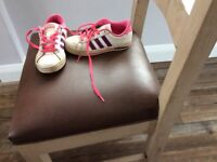 Girls white Adidas trainers for sale
