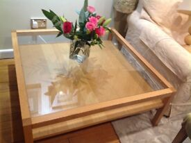 Large glass-topped 'retro' coffee table, in good condition