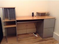 Large beech and silver effect desk