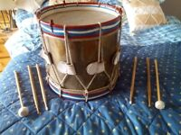 Snare drum marching vintage retro with sticks