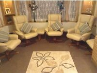 4 cream soft leather chairs