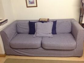 Large Habitat sofa, sits 3 adults comfortably in blue and white gingham check