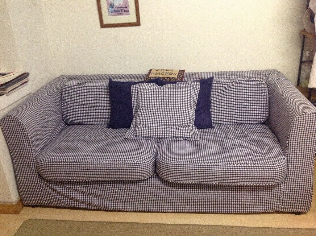 Large Habitat Sofa Sits 3 S Comfortably In Blue And White Gingham Check