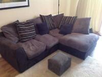 Corner sofa with matching footstool