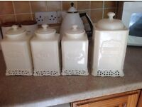 Shabby Chick cream Tea coffee Sugar and Biscuit Jars