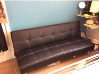 Black faux leather sofa bed for sale