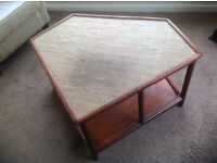 Ratten furniture unusual designed coffee type table, ideal for a conservatory or other use