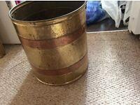 Brass and copper coal scuttle bucket