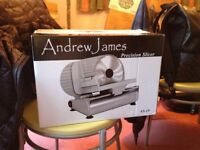 Andrew James Food Slicer Electric Precision 19cm Blade + Includes 2 Extra Blades + Box + Manual