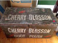 Shabby chic blanket box labelled Cherry Blossom Boot Polish