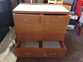Chest of drawers solid wood very heavy with Formica top...ideal project