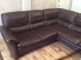 Chocolate corner sofa with high back , sofa bought from dfs