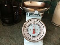 Kitchen Scales Pale Blue and Chrome