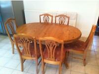 Extendable Dinning Room Table & 6 Chairs