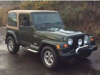 JEEP WRANGLER 4.0 SAHARA 1999 SHERWOOD GREEN REMOVABLE HARD TOP AND DOORS ONLY 60,000 MILES F/S/H