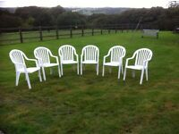 6 x White Plastic High Backed Garden Chairs