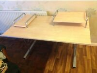 Sturdy, metal framed office desk with light wood surfaces. 91 cm tall, 135 cm wide and 85 cm deep