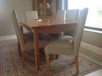 Solid Oak 6 Seater Dining Table by Gilbert Logan and 6 Leather ChairsGilbert Logan