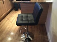 AS NEW BLACK FAUX LEATHER BREAKFAST BAR STOOL / COMPUTER CHAIR : NEXT