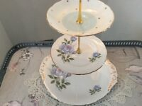 Pale Blue Floral Bone China 3 Tier Cake Stand.